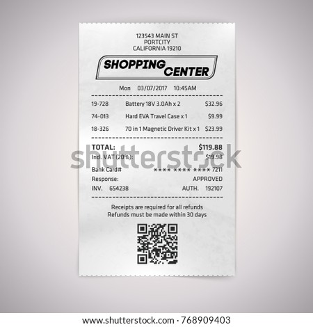 Realistic paper shop QR receipt. Vector cashier bill on white ba