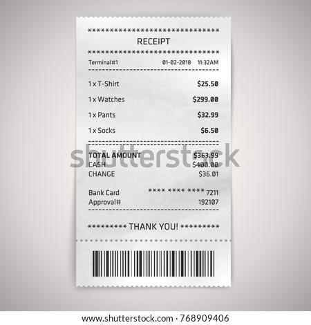 realistic paper shop receipt...
