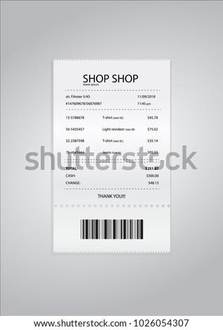 Realistic paper shop receipt with barcode. Vector shop terminal. Shop. Chek