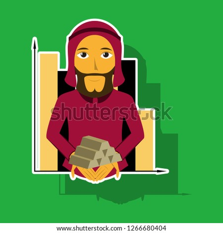 realistic paper sticker on theme Arabic business arabic businessman with gold