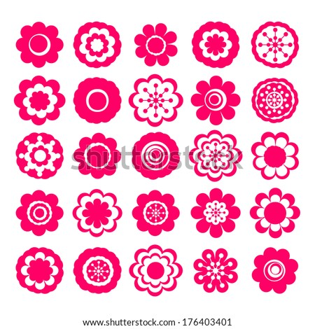 Realistic paper sticker: set of flowers. Isolated illustration icon #176403401