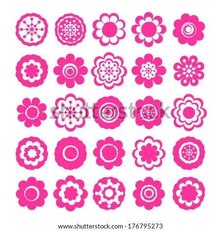Realistic paper sticker: set of flowers. Isolated illustration icon #176795273