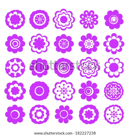 Realistic paper sticker: set of flowers. Isolated illustration icon #182227238