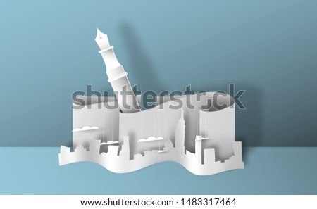 Realistic papercut city landscape with writing pen. 3D paper cutout skyline for creative architecture concept or real estate project.