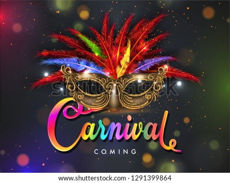 Realistic party mask decorated with colorful feather and text carnival on bokeh background for carnival party poster design.