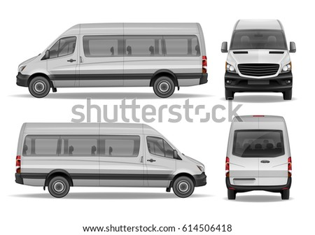 Realistic Passenger Van vector template for Mockup. Easy to edit and change van color. High detailed Passenger Mini Bus Car Isolated.