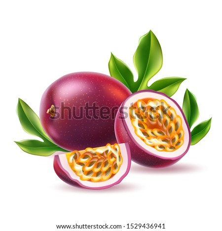 Realistic passionfruit with slices, seeds and green leaves. Fresh exotic fruit for healthy dieting. Juicy raw tropical fruit with yellow seeds. Vector purple fruit full of vitamins.