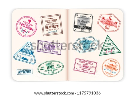 Realistic passport pages with visa stamps. Open foreign passport with custom visa stamps. Travel concept to Europe countries. Vector