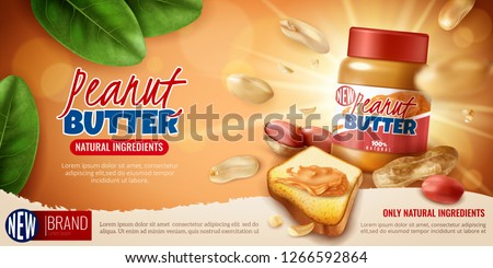 Realistic peanut butter horizontal poster for advertising with branded product editable text and arachis bean images vector illustration