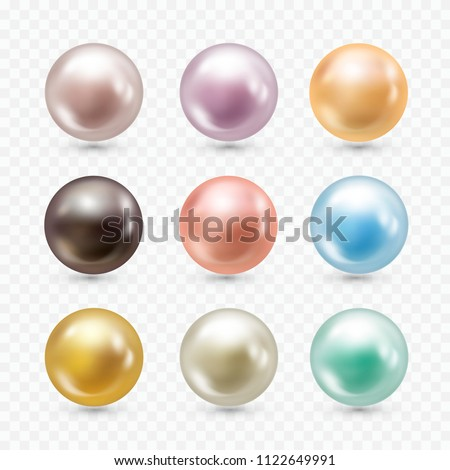 Realistic pearls set. Round white, bluish-grey, black, formed within the shell of a pearl oyster, precious gem. Vector illustration