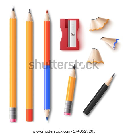 Realistic pencil and sharpener with shavings set isolated on white background. School supplies with and without eraser, double sided colors and stumps, vector illustration, Foto stock ©