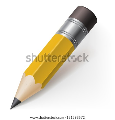 Realistic pencil icon. Illustration on white background
