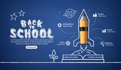 Realistic pencil rocket launching out from the book infographic, welcome back to school background