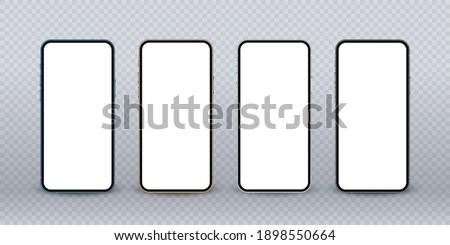 Realistic phone mockup, blue, gold, silver and black mobile isolate concept with blank screens. High detailed 3d vector smartphone in front view ready to show your app design.