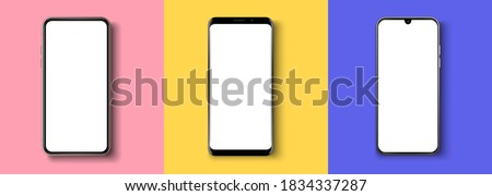 Realistic phone mockup. Smartphone blank screen, phone mockup. Template for infographics or presentation UI design interface. Cellphone frame with blank display