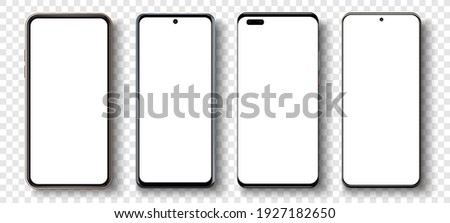 Realistic phone mockup. Smartphone blank screen, phone mockup. Template for infographics or presentation UI, UX design interface. Cellphone frame with blank display