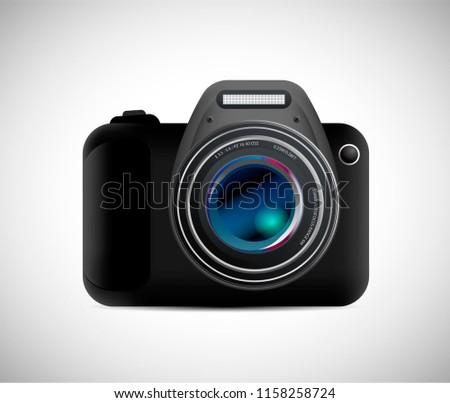 Realistic photo camera. Professional photo studio concept. Vector illustration eps10.