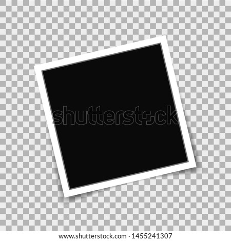 Realistic photo frame in mockup style on isolated background. Vector photo frame on transparent background. Empty photo card. Blank photo frame. vector illustration eps10