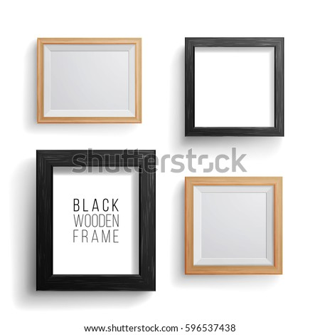 Realistic Photo Frame Vector Set. Collection Of Empty Blank. Realistic Picture Frames On White Wall. Design Template For Mock Up.