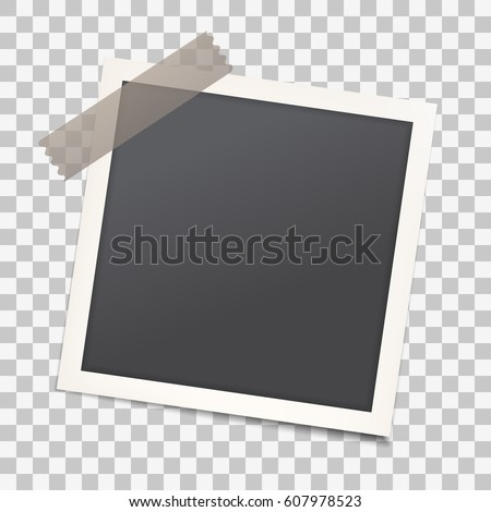 Realistic photo frame with shadow on transparent isolated background, Empty photography snapshot template with adhesive tape. Mock up for vintage stylish photos or images, EPS10