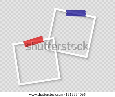Realistic photo frames with tape on transparent background. Vintage style vector illustration with adhesive tapes. Stock fotó ©