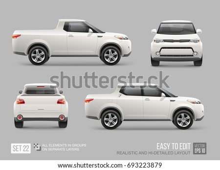 Realistic Pickup truck vector mockup template for Car Branding and advertising design isolated from grey. White pickup mockup view from side, front, back. All elements in groups on separate layers