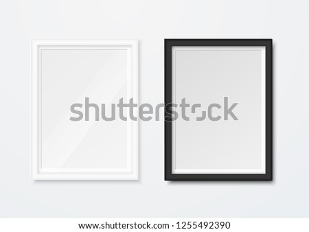 Realistic picture frames isolated on white background. Vector illustration.