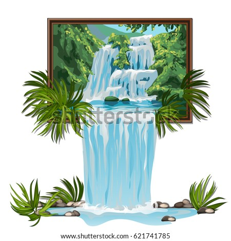 Realistic picture with forest waterfall isolated on white background. Idea of interior design. Water is poured into the interior through the picture on the wall. Vector cartoon close-up illustration.