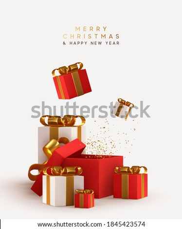 Realistic pile white and red gifts boxes. Open gift box. Decorative festive object. New Year and Christmas design. Holiday banner, poster, flyer, stylish brochure, greeting card, Xmas background