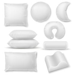 Realistic pillow. Different shaped soft white pillows, comfort orthopedic textile cotton cushions for sleep and rest template for healthy sleeping vector set