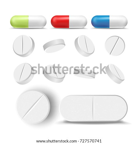 Realistic Pills And Drugs Set Vector. Painkiller, Pharmaceutical Antibiotics. Isolated Illustration