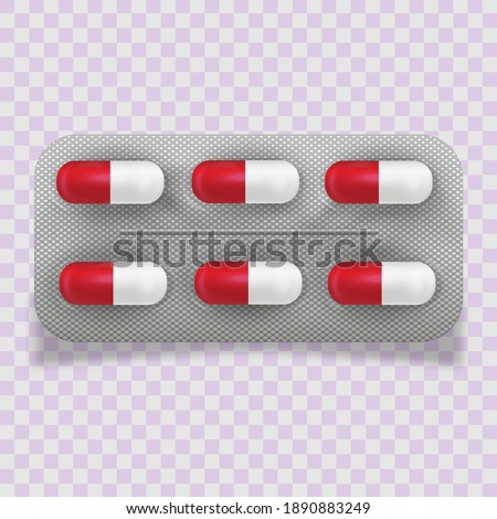 Realistic pills blister with capsules on white background. Realistic mock-up of pills packaging medicines, tablets, capsules, drug of painkillers, antibiotics, vitamins. Healthcare medical. Photo stock ©