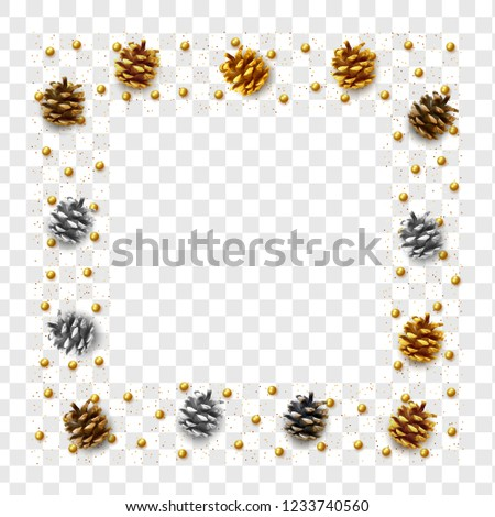 Realistic pine cones isolated on a transparent background. vector illustration #1233740560