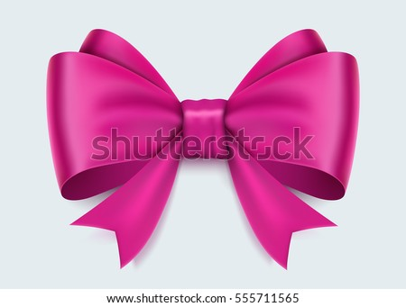 Realistic pink bow isolated on white background. Vector illusatraion