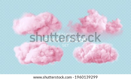 Realistic pink fluffy clouds set isolated on transparent background. Cloud sky background for your design. Vector illustration