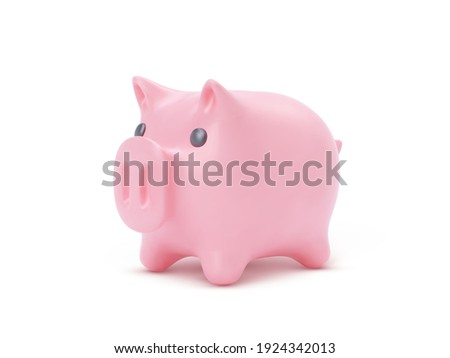 Realistic pink piggy bank pig isolated on white background. Piggy bank with coins, financial savings and banking economy, long-term deposit investment. Vector illustration.
