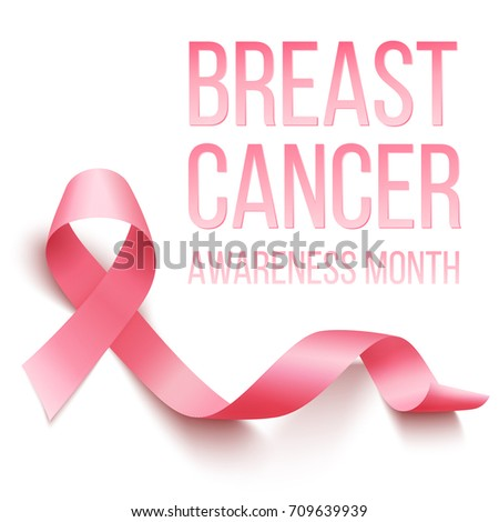 Realistic pink ribbon, breast cancer awareness symbol, vector illustration #709639939
