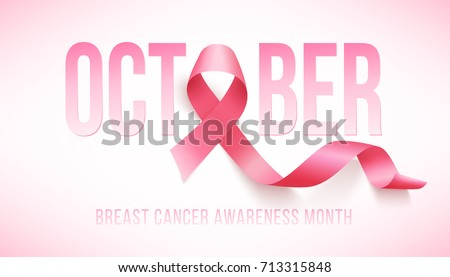 Realistic pink ribbon, breast cancer awareness symbol, vector illustration