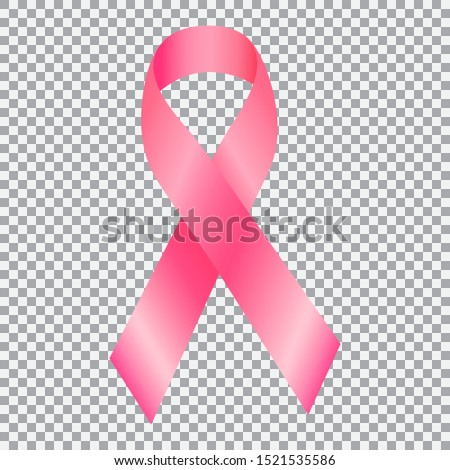 Realistic pink ribbon over transparent background with shadow. Symbol of national breast canser awareness month in october. Vector illustration.
