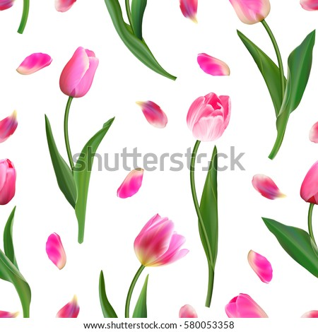 realistic pink tulips and petal