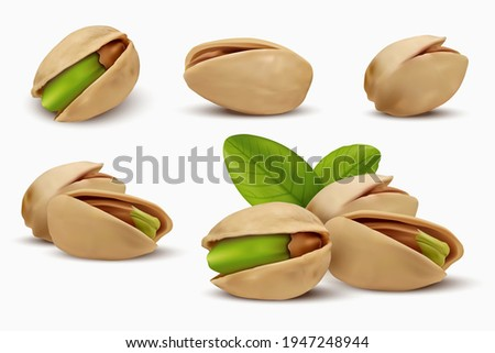 Realistic pistachios in 3d style. Roasted pistachios in shell isolated on white background. Natural organic food. Design element for nuts packaging, advertising, etc. Vector illustration.