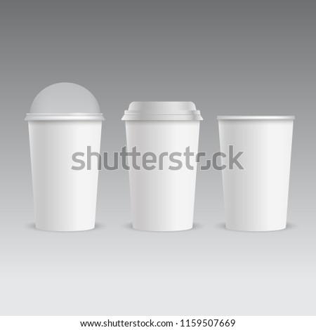 Realistic plastic cup with transparent cap for coffee juice. Vector