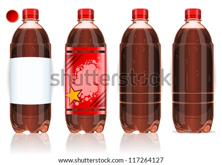 realistic plastic label bottle