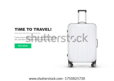 Realistic plastic suitcase. Red travel bag isolated on white background. Traveling banner template. Vector Illustration