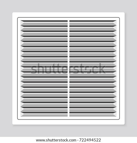 Realistic plastic whiter air circular vent window in bathroom, wall ventilation grate, vector illustration