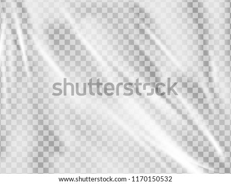 Realistic plastic wrap texture . Stretched polyethylene cover. Wrinkled surface.