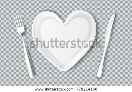 Realistic plate in shape of heart, knife, fork. Valentines day romantic kitchenware, love and care symbol. Ceramic utensil, holiday evening celebration. Vector illustraiton on transparent background