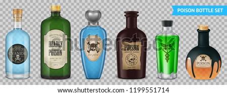 Realistic Poison Bottles Set Foto stock ©