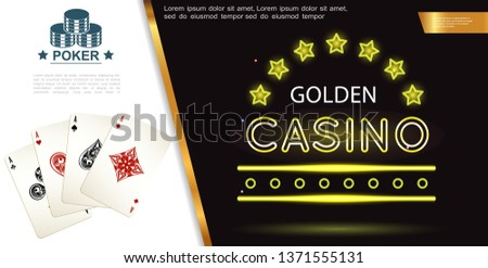 Realistic poker colorful composition with joker aces of spades hearts clubs and diamonds playing cards vector illustration