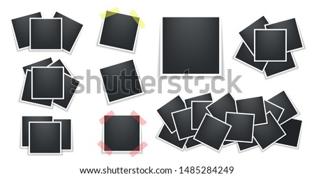 Realistic polaroid photo frames pack. Square Polaroid frame template with shadows isolated on white background. Vector illustration